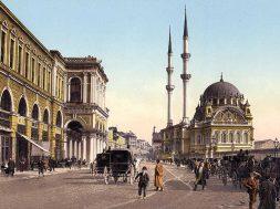 osmanli-eski-fotograf-faytonlar-cadde-cami